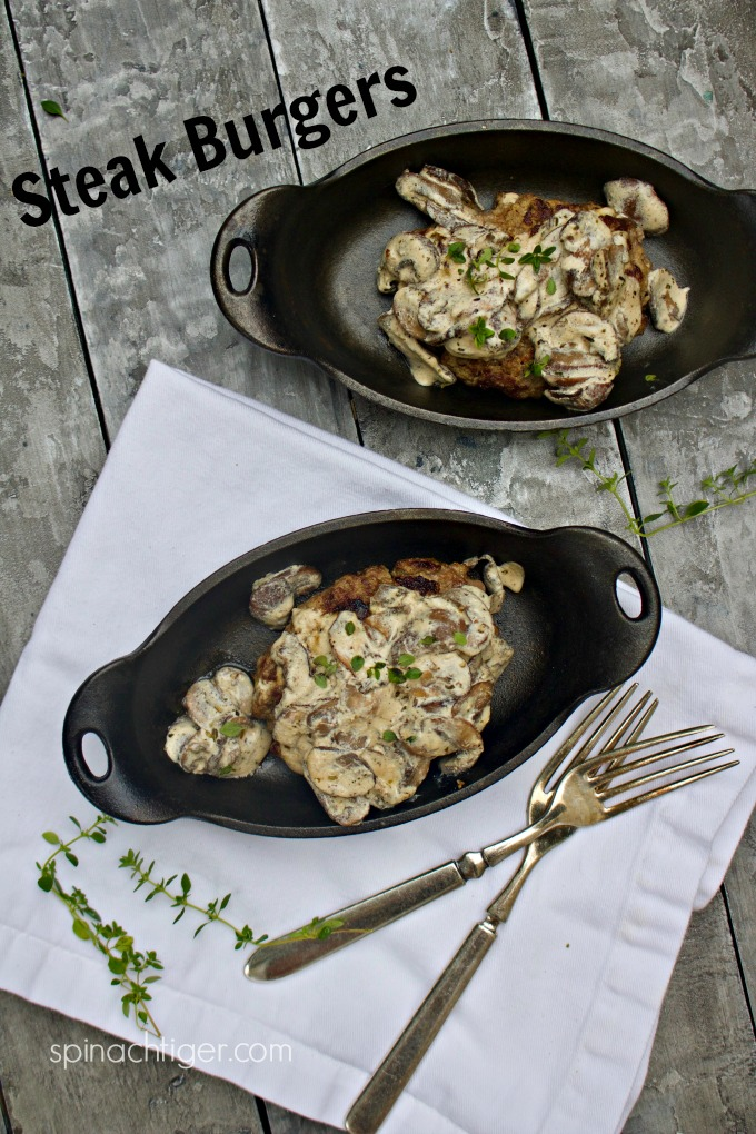 Burger Steak Recipe with Mushroom Sauce from Spinach Tiger #mushrooms #steak #burgers #sourcream #keto #groundbeef