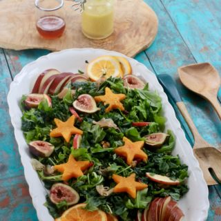 Festive Kale Salad,  Honey Rosemary Vinaigrette, Win a Trip to Barcelona