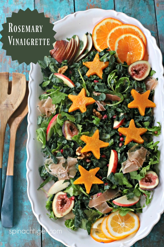 Make a wonderful festive salad with butternut squash, kale, nuts, prosciutto, and rosemary vinaigrette. #vinaigrette #butternutsquash #salad #spinachtiger via @angelaroberts