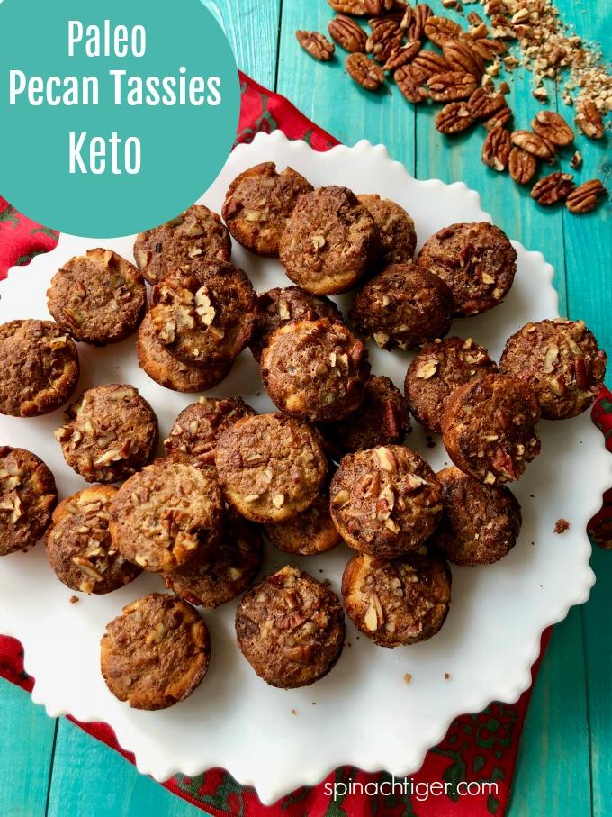 Keto, Grain Free Pecan Tassies made with homemade brown sugar, cream cheese, almond flour and pecans. via @angelaroberts