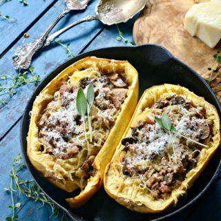 Spaghetti Squash Casserole Recipe with Italian Sausage