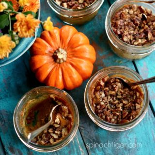 Low Carb Crustless Pumpkin Pie Cups,  Pecan Streusel Topping