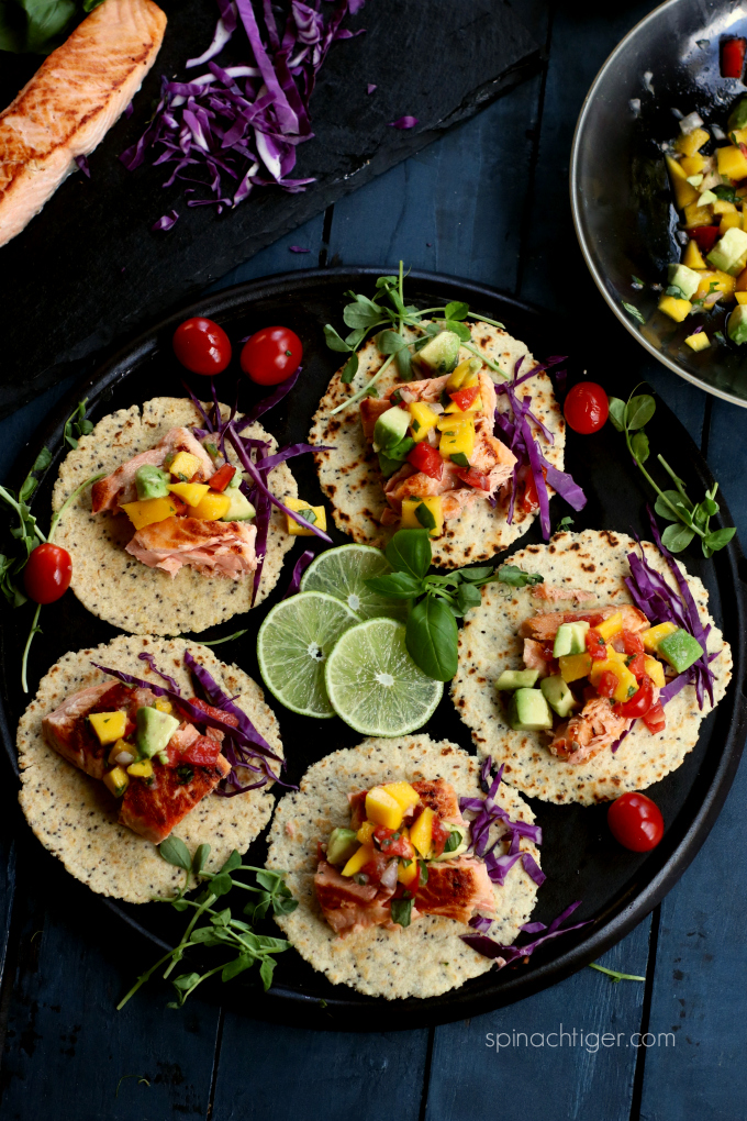 Salmon Tacos with Mango Tomato Salsa Recipe from Spinach Tiger