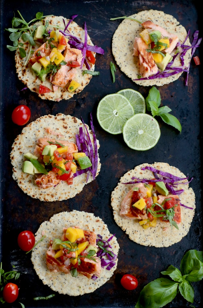 Seared Salmon Tacos with Mango Tomato Salsa Recipe from Spinach Tiger