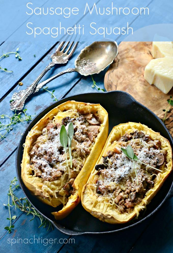 Italian Sausage Spaghetti Squash Casserole Recipe (Low Carb) from Spinach Tiger #spaghetti squash #squash #sausage #mushrooms #easydinner #keto #lowcarb #paleo