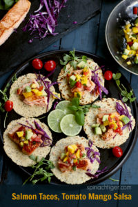 Salmon Tacos with Mango Tomato Salsa from Spinach Tiger