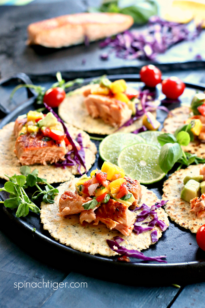 Salmon Tacos with Mango Tomato Salsa and Avocado from Spinach Tiger