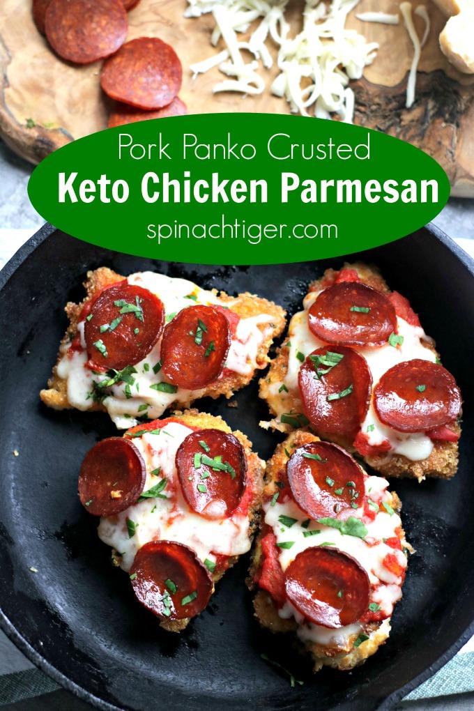 Keto Chicken Parmesan #ketochickenparm #porkpanko #lowcarbchickenrecipe #ketochickenparmesan #spinachtiger