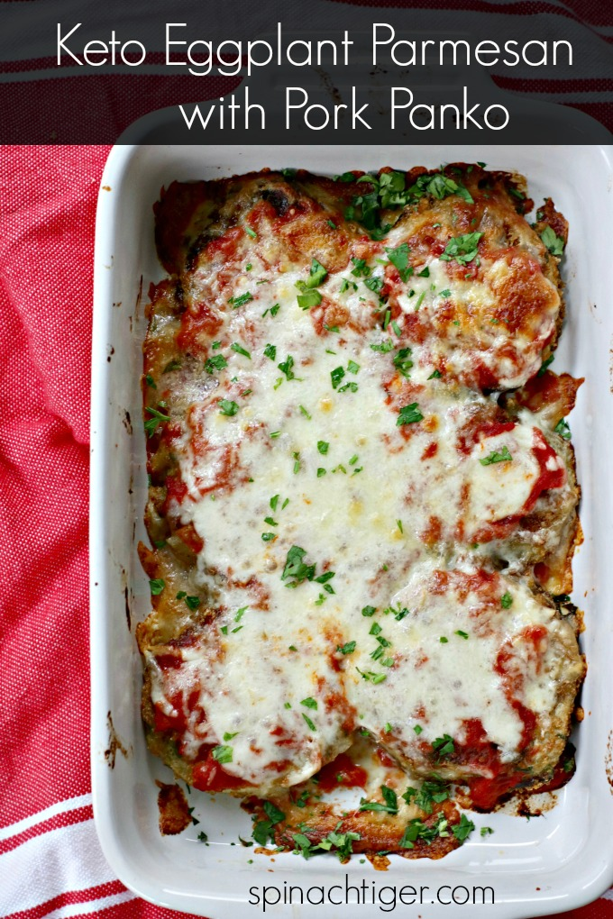 Keto Eggplant Parm made with pork panko, tastes just like what I grew up on. #ketoeggplantparmesan 