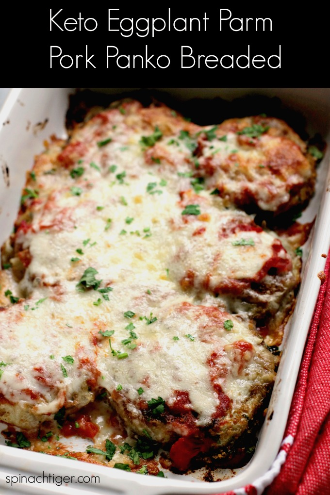 Keto Eggplant Parmesan Pork Panko Breaded from Spinach Tiger #ketoeggplantparmesan #keto #recipes #porkpanko #italianfood