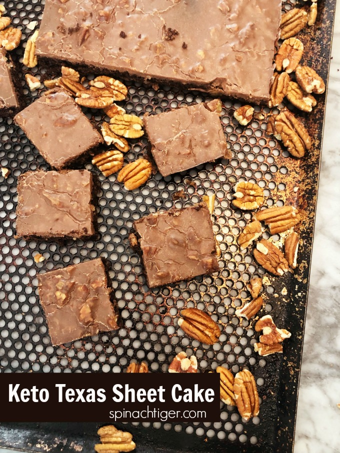 Keto Friendly, Sugar Free Low Carb Texas Sheet Cake. Make from Scratch or use Swerve Box CAKE. #SWERVE #ketotexassheetcake #texassheetcake #sugarfreecake #ketocakerecipe #spinachtiger via @angelaroberts