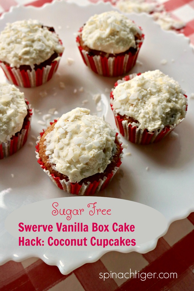 Sugar Free Coconut Cupcakes Using Swerve Vanilla Box Cake from Spinach Tiger #swerve #vanillaboxcake #swerveboxcake #coconutcupcakes #keto