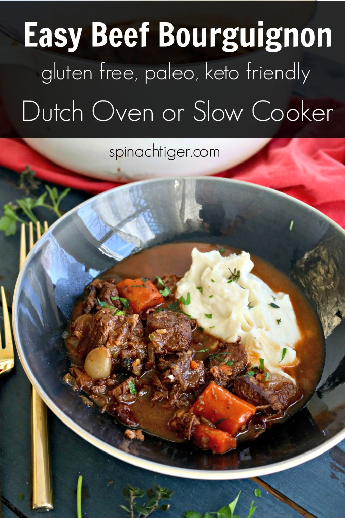 MAKE THIS easy beef bourguignon in your slow cooker or dutch oven and feel like a French chef. Several cooking tips at this post. Serve with cauliflower mash for low carb or mashed potatoes. Freezes well. #beefstew #ketodinner #paleodinner #easydinner #slowcookerstew #Dutcheovenrecipes #beefbourguignon #frenchbeefstew #spinachtiger via @angelaroberts