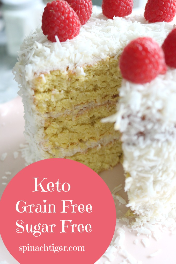 Triple Layer Keto Coconut Cake with Cream Cheese Frosting from Spinach Tiger