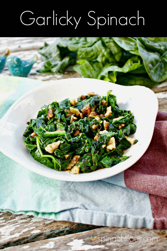 Wilted Garlicky Spinach with Walnuts