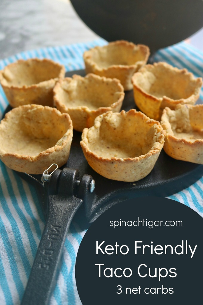 Crunchy Keto Taco Cups from Spinach Tiger