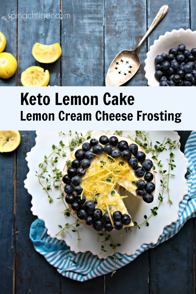 Delicious Keto Friendly Triple naked lemon cake, made with lemon cream cheese frosting. Amazing flavor, texture, Grain Free, Sugar Free. Almond Flour #spinachtiger via @angelaroberts