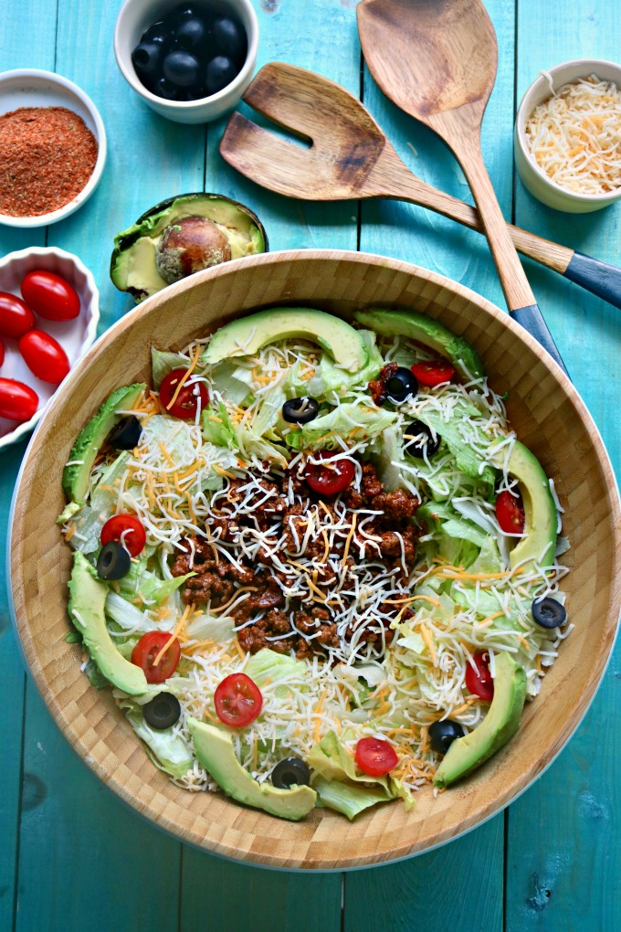 Low Carb taco Salad - Low Carb Mexican Recipes from Spinach Tiger