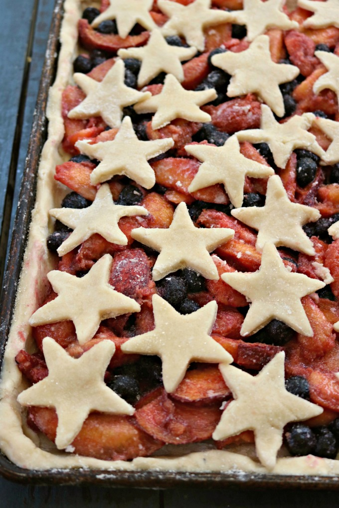 Sheet Pan Slab Pie with Summer Fruit, Star Topping from Spinach Tiger