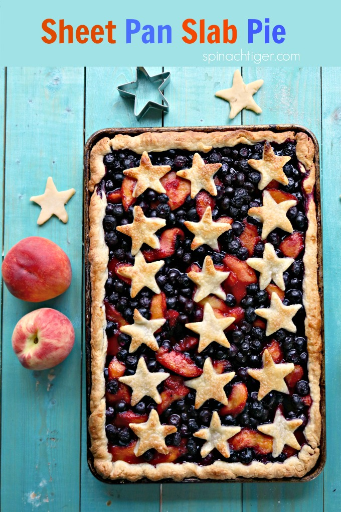 Sheet Pan Slab Pie with fresh summer fruit from Spinach Tiger #sheetpanpie #slabpie #pie #summerfruitpie #peaches #blueberries #fancypie #potluckpie #partyfood #spinachtiger #HolidayPie