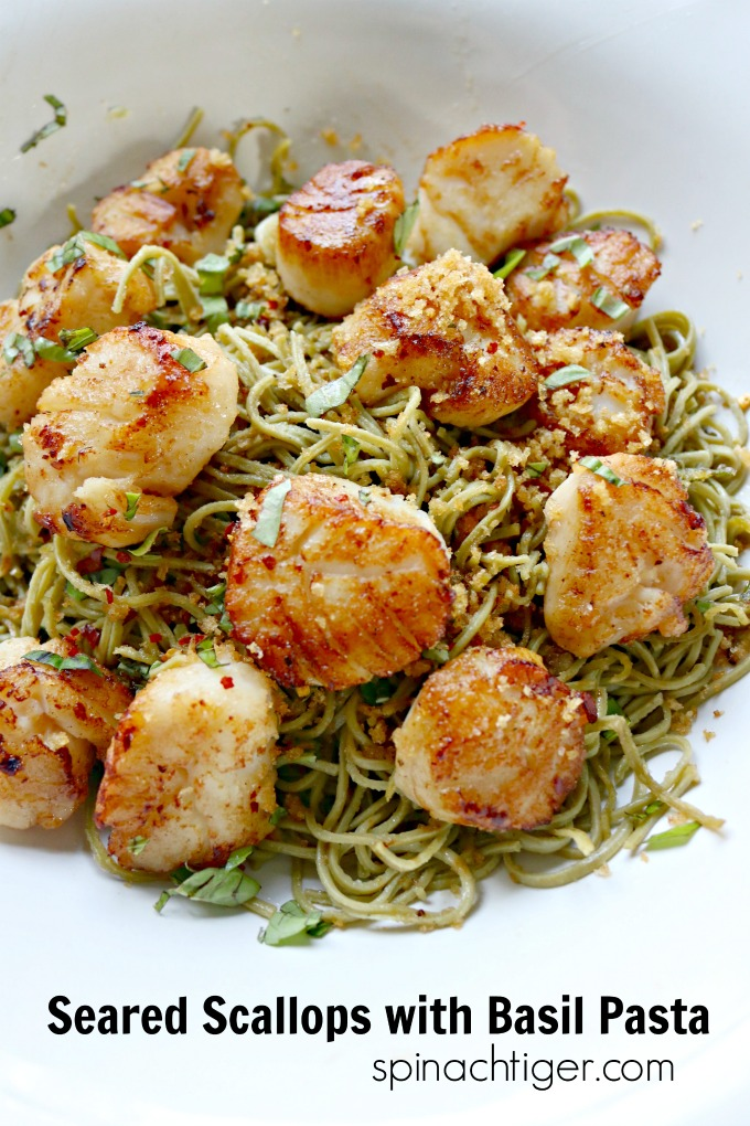 Seared Scallops with Basil Pasta