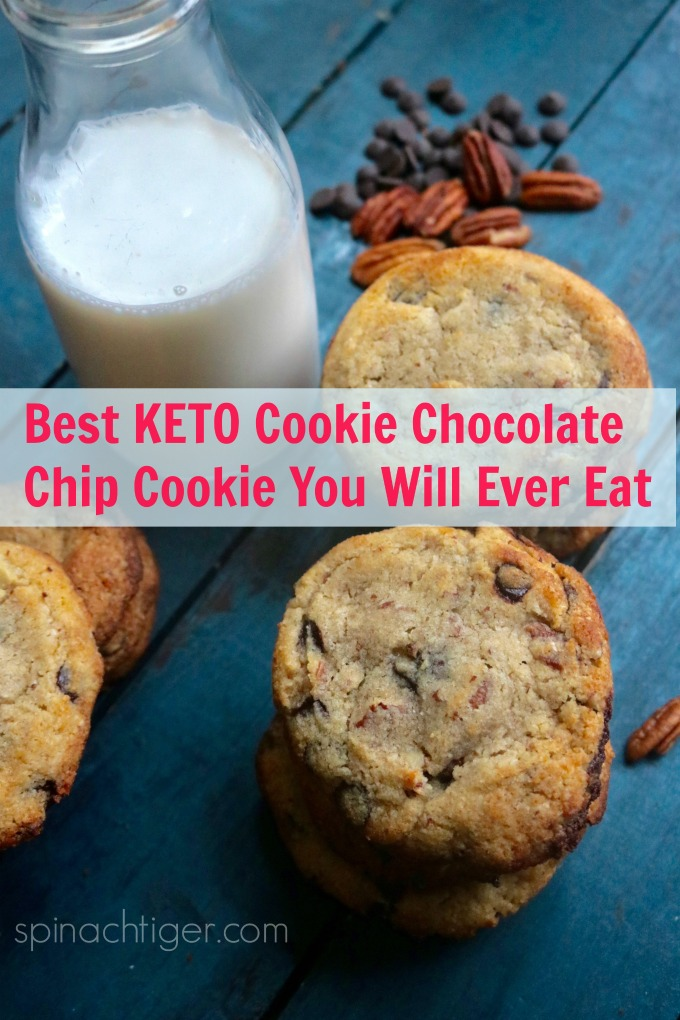 Best technique for the perfect keto chocolate chip cookie. Made with Pecans, Almond Flour, Choc Zero Chocolate Chips. #choczero #ketocookies #ketochocolatechip via @angelaroberts