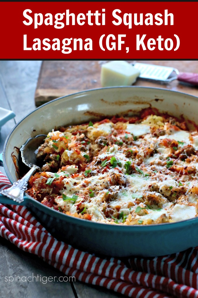 Spaghetti squash lasagna made with #spaghettisquash, mozzarella, pecorino, ground beef or Italian Sausage. #ketoItalian #spinachtiger via @angelaroberts