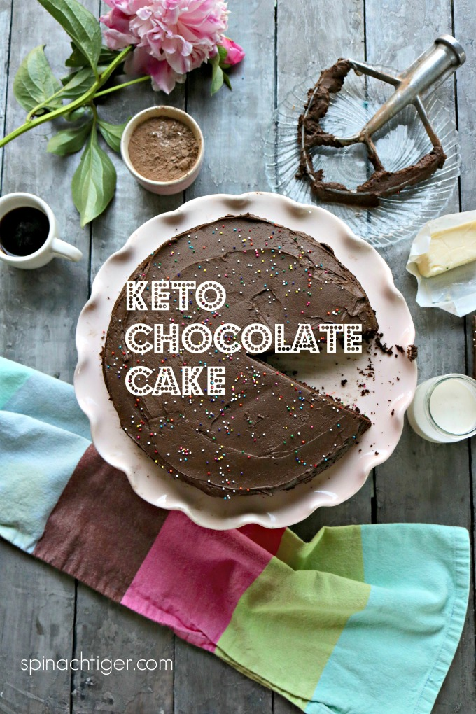 Keto Chocolate Cake - Using Almond Flour and Swerve, make the PERFECT CHOCOLATE CAKE. #ketochocolatecake #lowcarbchocolatecake #ketochocolate #paleochocolatecake #spinachtiger via @angelaroberts