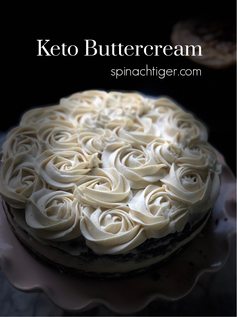 Low Carb Vanilla Buttercream made with Swerve Confectioner's Sweetener, butter, cream cheese. Tutorial on how to make easy rosettes. Recipe from a keto bakery owner. #ketobuttercream #ketofrosting #lowcarbfrosting #spinachtiger #swerve via @angelaroberts