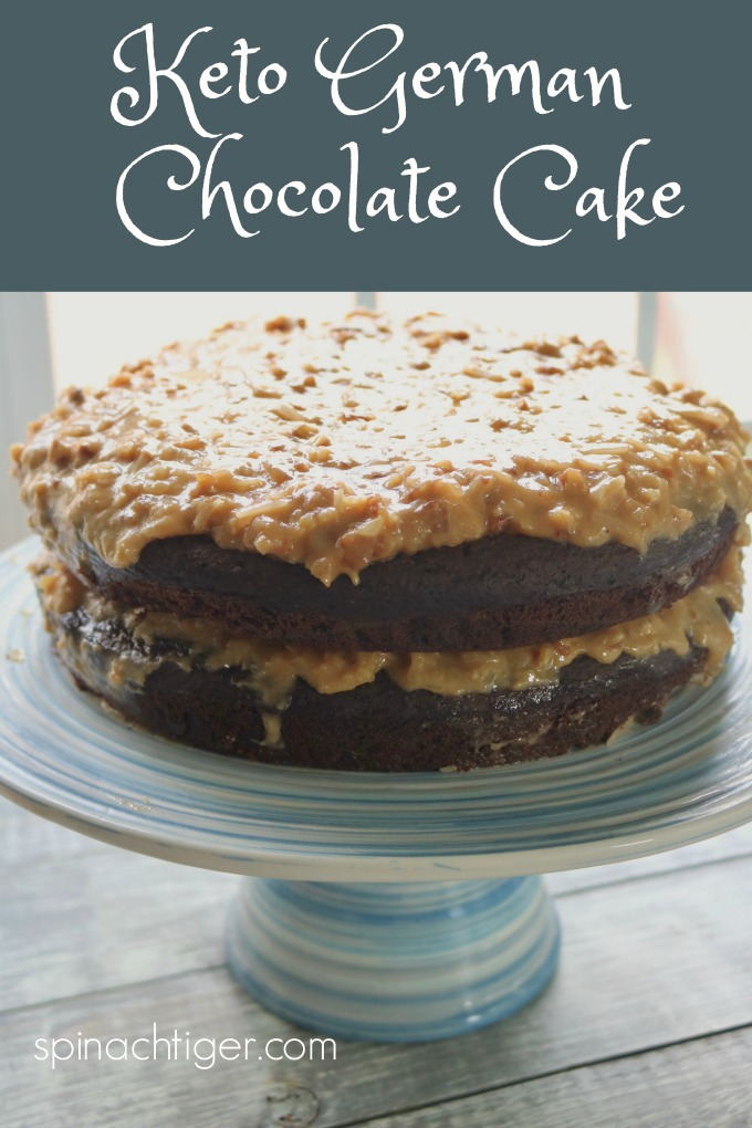 Double Layer Keto German Chocolate Cake from Spinach Tiger