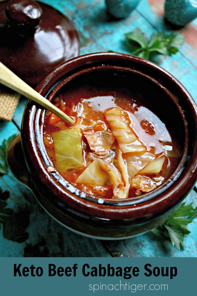 Beef and Cabbage Soup, healthy comfort food, Paleo and Keto Friendly. Whole 30 compliant. #beefcabbagesoup #whole30soup #paleosoup #spinachtiger via @angelaroberts
