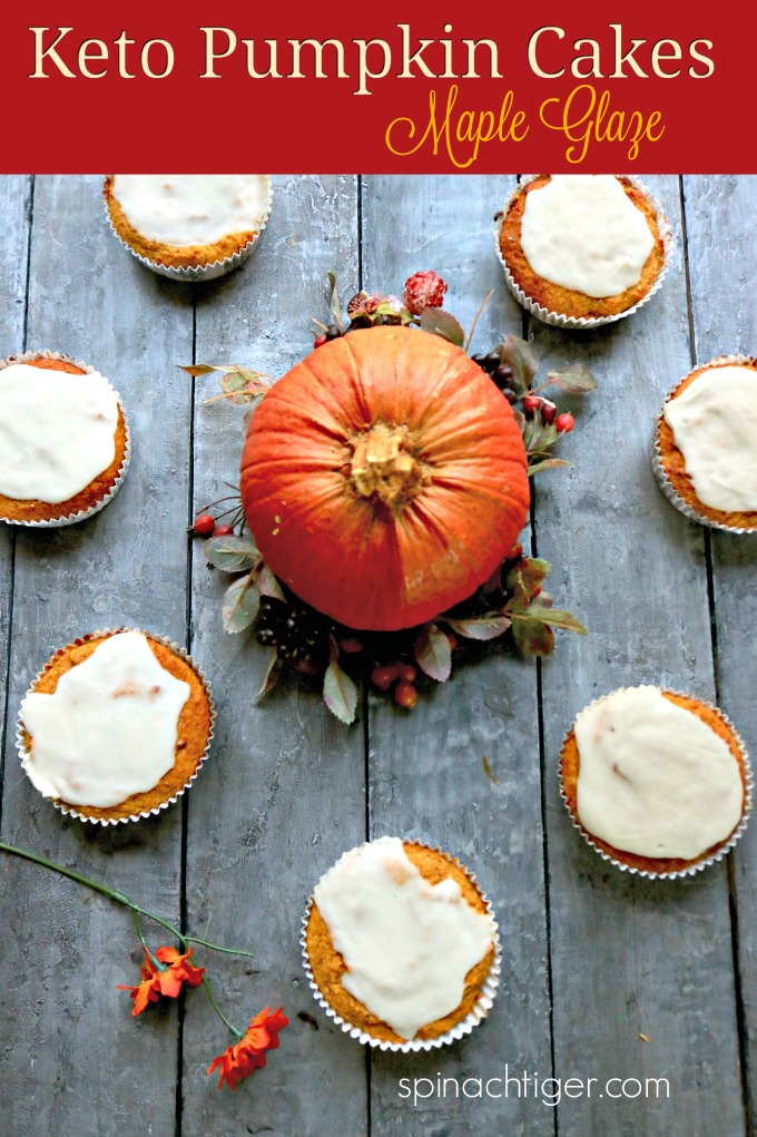 Keto Pumpkin Cupcakes, sugar free, grain free, gluten free, dairy free. Moist and airy texture. 2 Net Carbs with Maple glaze #ketopumpkincupcakes #lowcarbpumpkincupcakes #dairyfreepumpkincupcakes via @angelaroberts