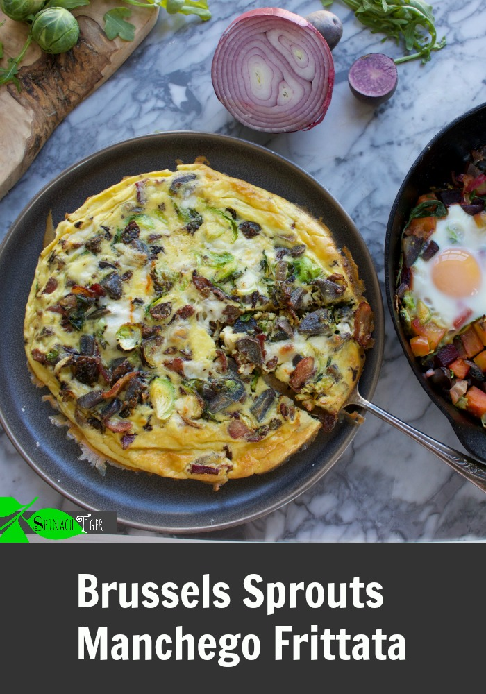 Make healthy frittata with brussels sprouts, purple potatoes, arugula, shallots. From Spinach Tiger #brusselssprouts #brusselssproutsfrittata #frittata #spinachtiger #easybrunch # via @angelaroberts