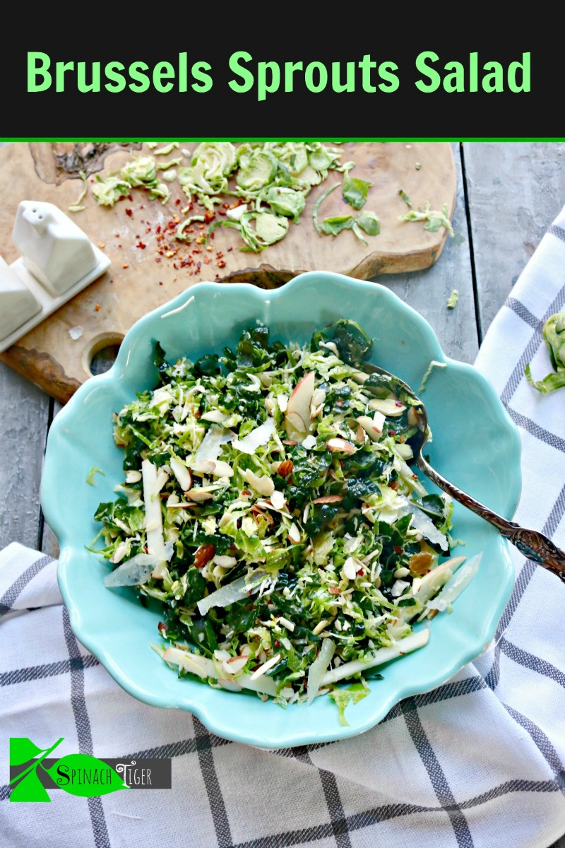 Shaved brussel sprout Salad with Almonds, Apples, from Spinach Tiger #shavedbrusselssprouts #brusselssprouts