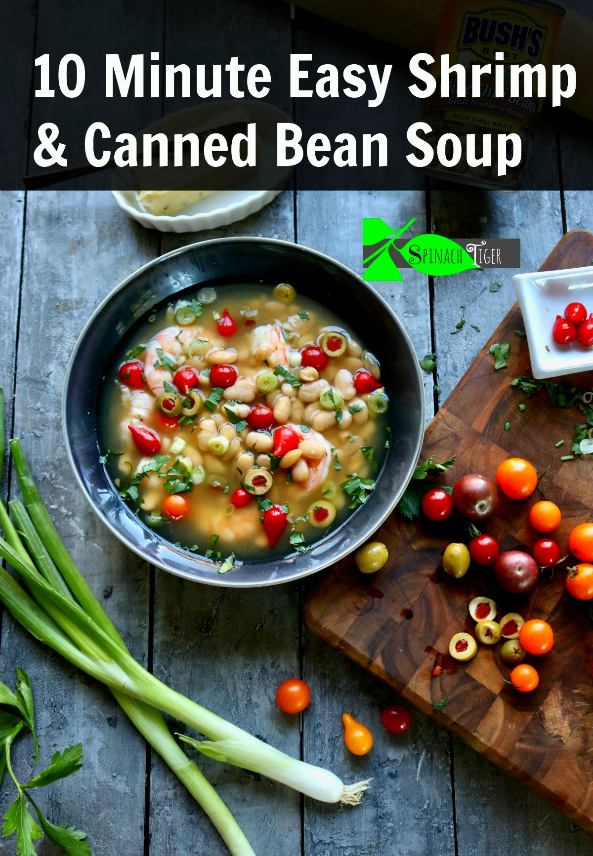 Easy Shrimp White Bean Soup Made in Ten Minutes from Spinach Tiger #cannedbeansrecipe #beansrecipe #shrimpwhitebeansoup #whitebeansoup