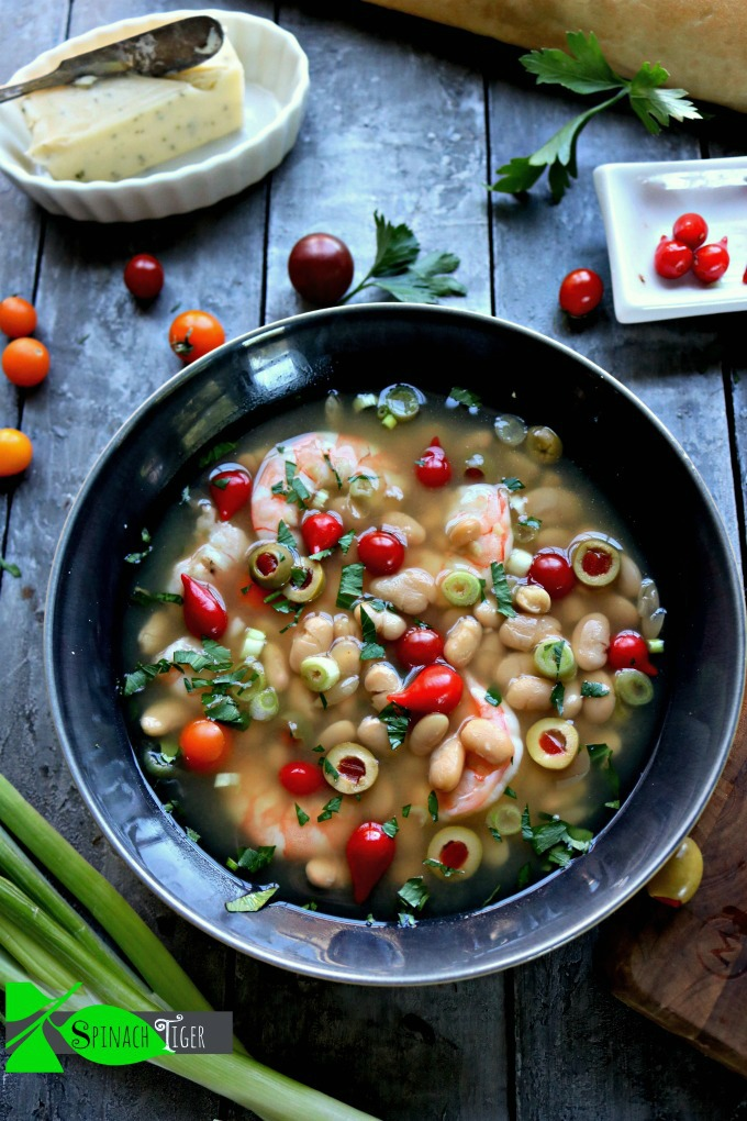Shrimp White Bean Soup with Canned Beans
