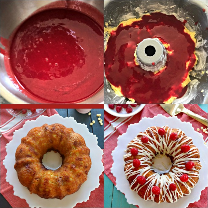 Grain Free, Keto White Chocolate Raspberry Bundt Cake with Homemade Raspberry Purée