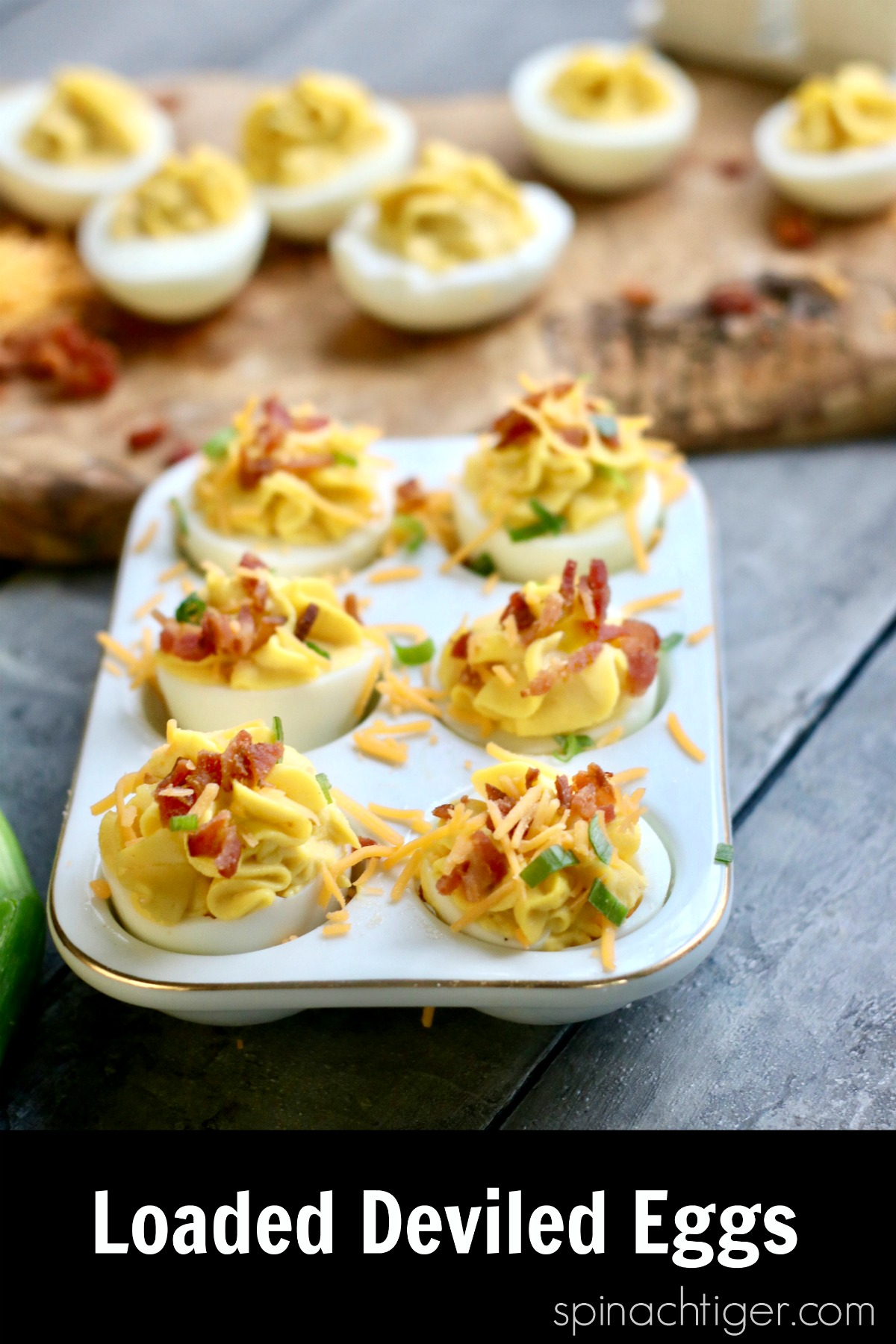 Make the best deviled eggs with cheddar, bacon and chives. #deviledeggs #betterbodyfoods #spinachtiger #ketoappetizer #ketosnack #hardboiledeggs #baconrecipe via @angelaroberts