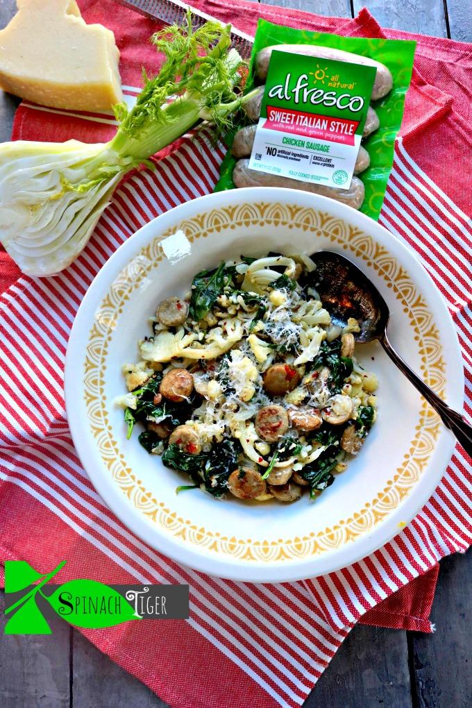 Al Fresco Italian Chicken Sausage with Cauliflower, Spinach