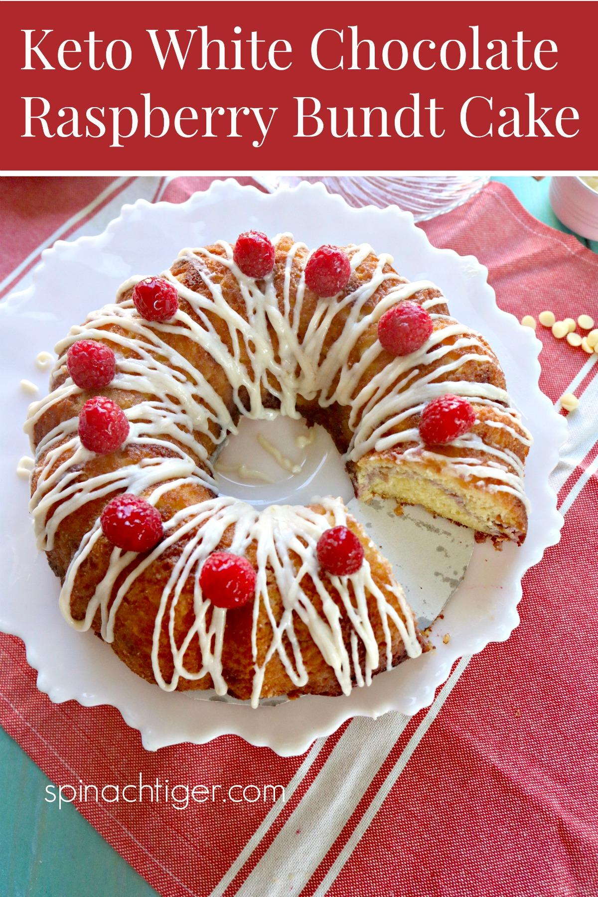 Keto White Chocolate Raspberry Bundt Cake with Cream Cheese Glaze