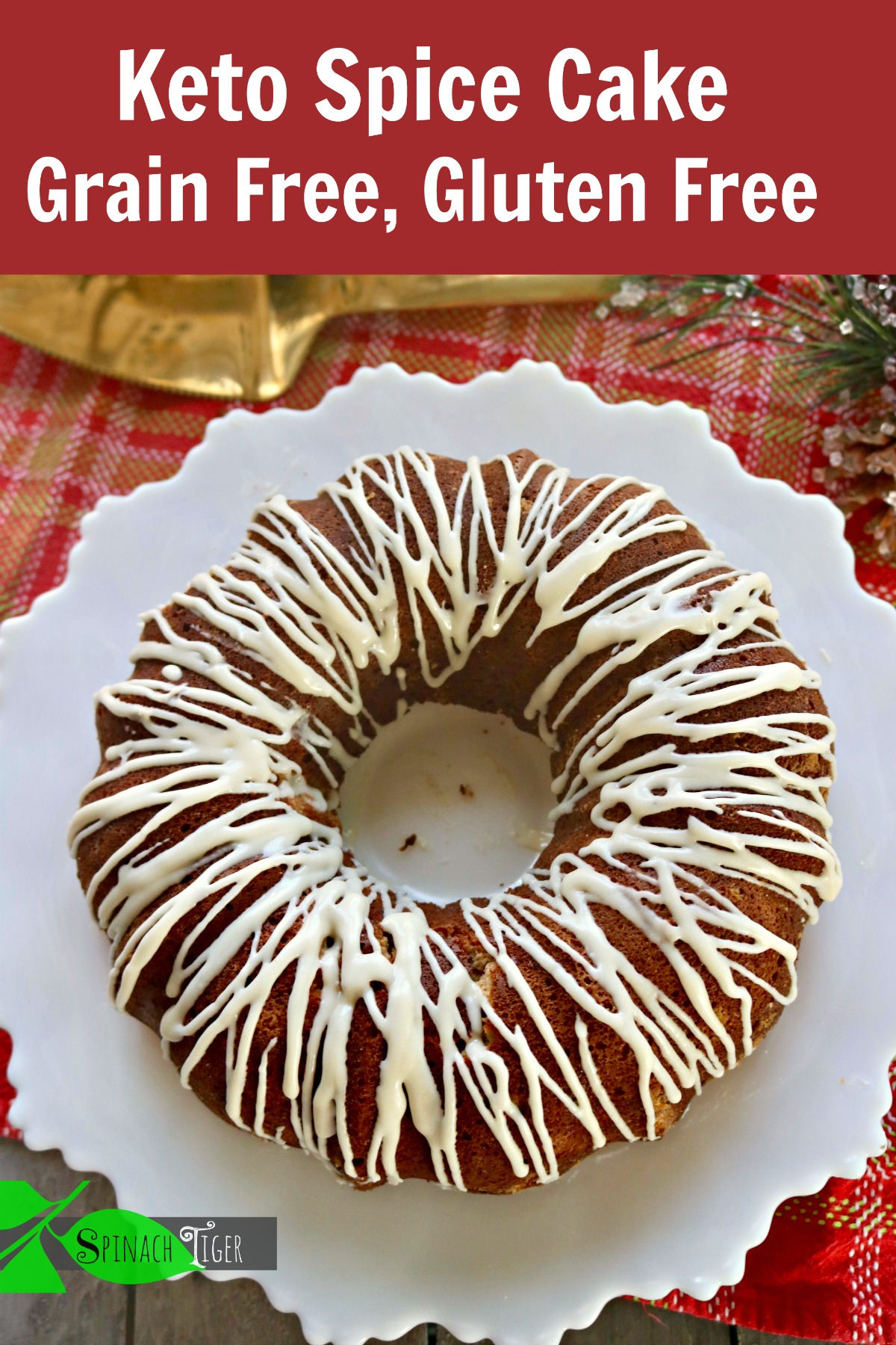 Keto Spice Cake with Cream Cheese Glaze from Spinach TIger