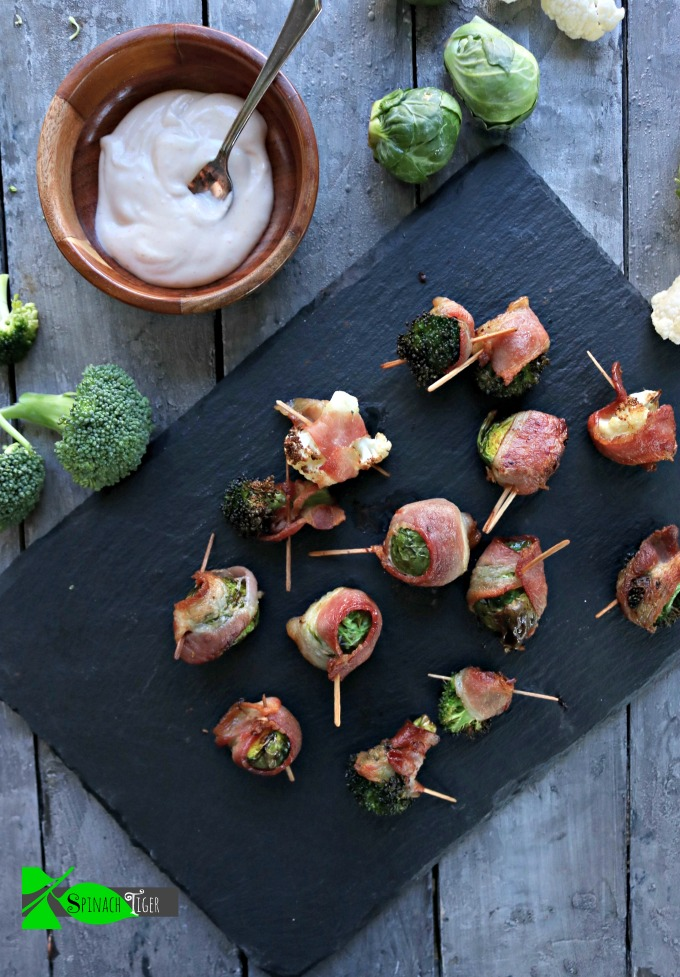Air Fryer Bacon Wrapped Veggies with Brussels Sprouts, Broccoli and Cauliflower from Spinach Tiger