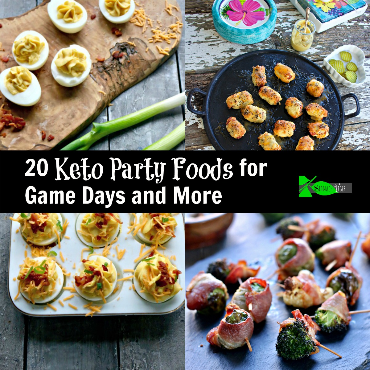 Keto party food ideas, including bacon wrapped chicken bites, veggie bites, deviled eggs, pigs in the blanket and grain free tortillas. Much more #ketoappetizers #ketopartyfood via @angelaroberts