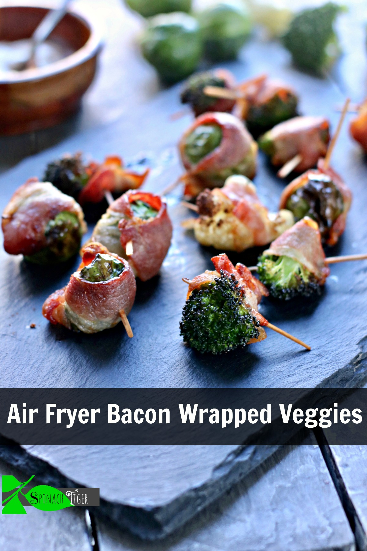Air Fryer Bacon Wrapped Veggies (cauliflower, broccoli, brussels sprouts)