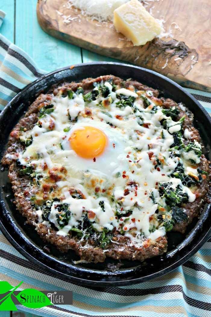 Keto Sausage Crusted Pizza with Broccoli Rabe and Fried Egg