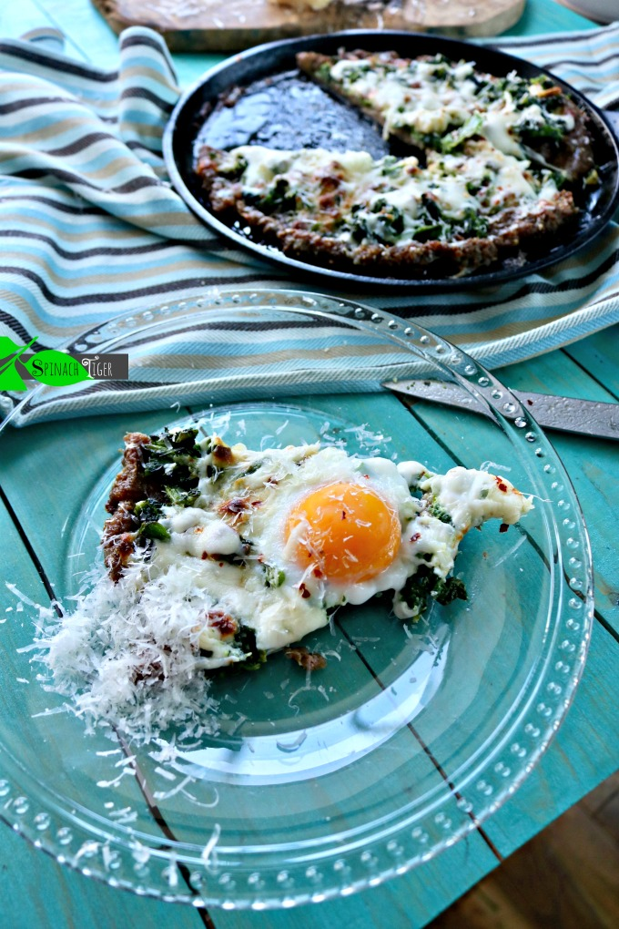 Single Serving Keto Sausage Crusted Pizza with Broccoli Rabe and Fried Egg