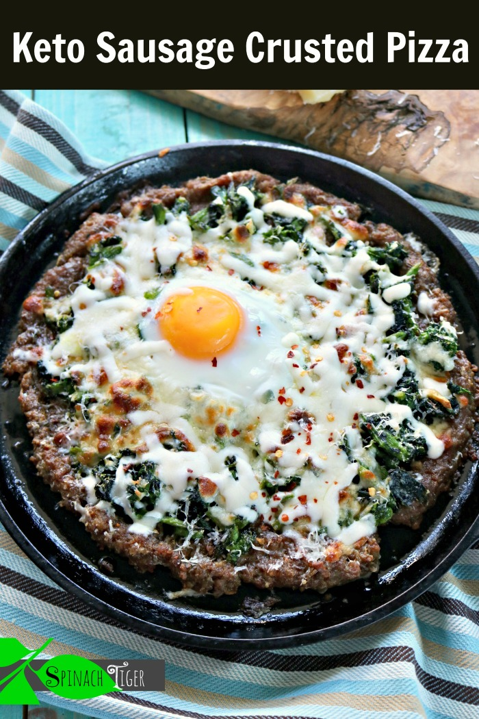 Keto sausage crusted pizza with broccoli rabe and a fried egg, breakfast lunch or dinner! #ketopizza #sausagecrustedpizza #broccolirabe #spinachtiger via @angelaroberts
