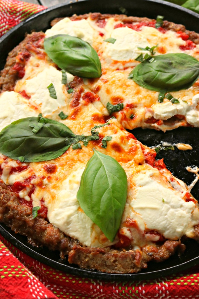 Keto Sausage Crusted Three Cheese Pizza wth Mozzarella, Pecorino Romano