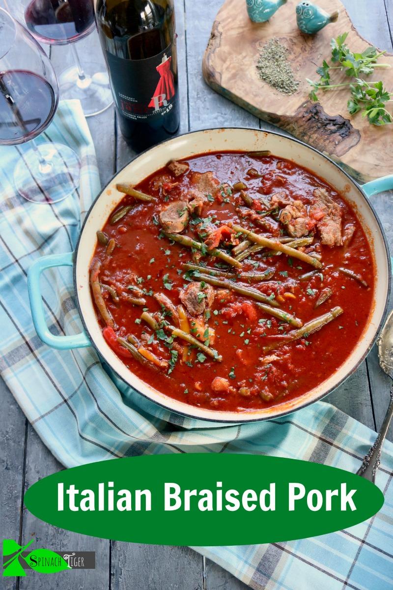 Italian Braised shoulder pork steak, crock pot or dutch oven with veggies. Turns pork fork tender. from Spinach Tiger #shoulderporksteak #braisedporksteak #porksteak #porkstew #easydinner via @angelaroberts