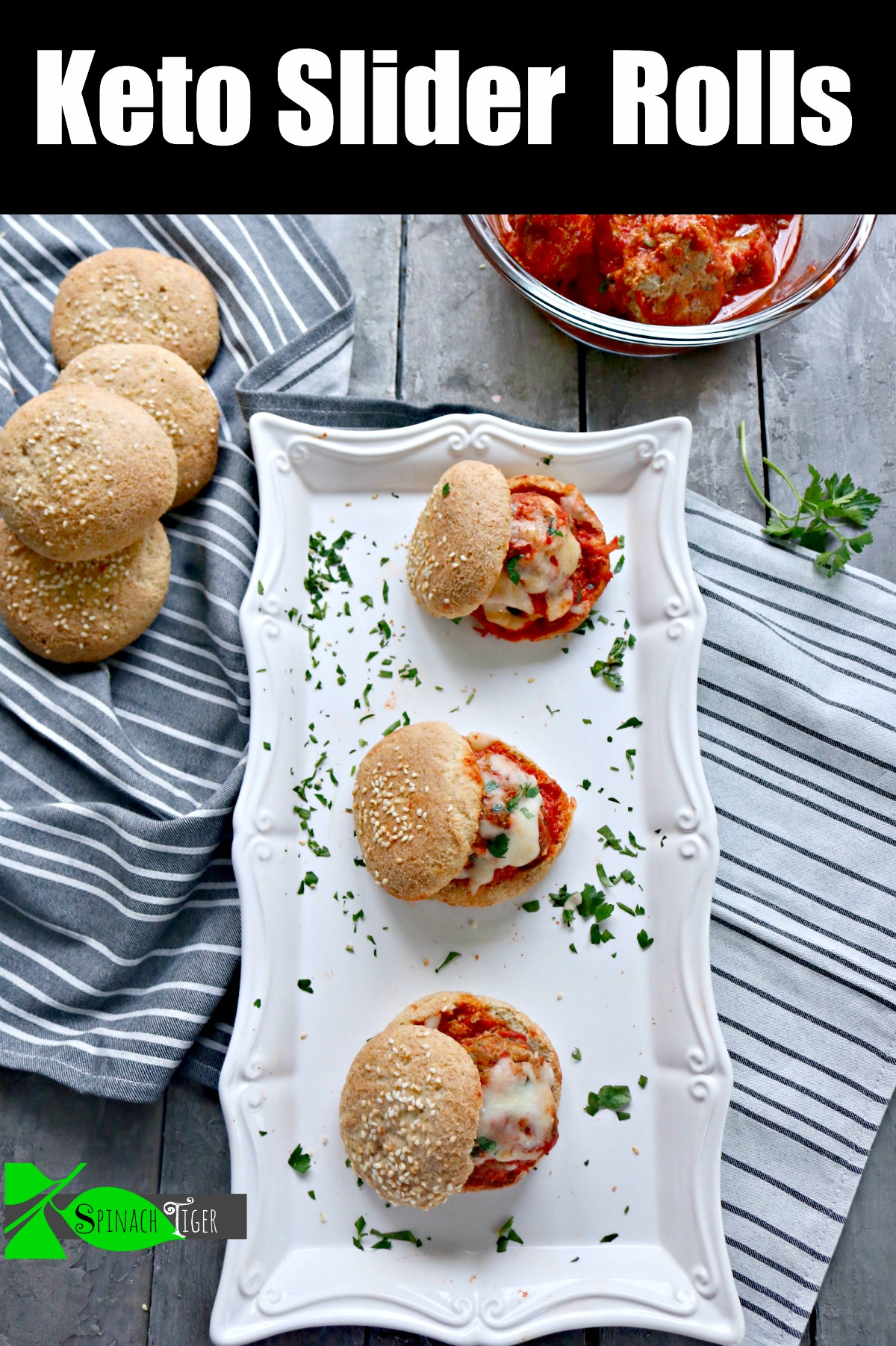 Keto Meatballs Make Great Sliders. Grain Free all beef meatballs, tucked into keto rolls for an keto old school Italian slider. #ketomeatballs #ketomeatballsliders #ketoItalianrecipe #spinachtiger via @angelaroberts